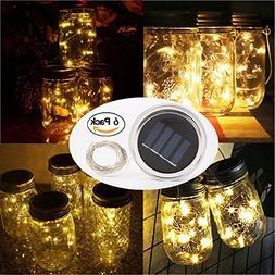 6 Pack Solar Jar Lids for Mason Jars with 10 LED Fairy Strin