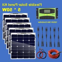 Solar Kit 250 W 5 x 50 W Flexible Sunpower Solar Panel + 30A