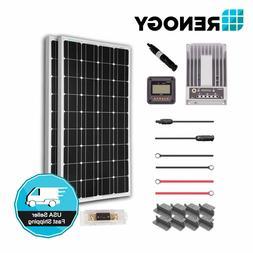 Renogy 200 Watt 12 Volt Solar Premium Kit w/ 2 Pcs 100W Sola