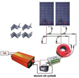 200 Watts Solar Kit Off-Grid: 2pcs 100W Poly Solar Panel + 1
