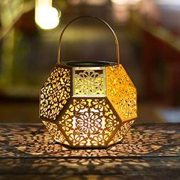Solar Lantern Hanging Garden Gold Outdoor Lights Polygon Flo