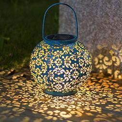 Solar Big Lantern Hanging Garden Outdoor Lights Metal Waterp