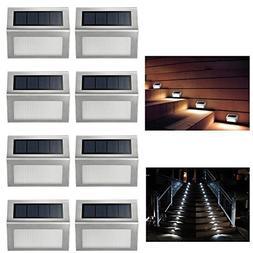 ELECCTV 8 Pack Solar Step Lights 3 LED Solar Powered Stair L