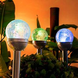 GIGALUMI Solar Lights Outdoor, Cracked Glass Ball Dual LED G