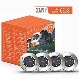 Solar Lights Outdoor | Pathway Disk Lights | 4 Pack 8-LED So