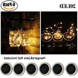 Solar Mason Jar Lid Lights, Aukora 6 Pack 20 Led Fairy Solar