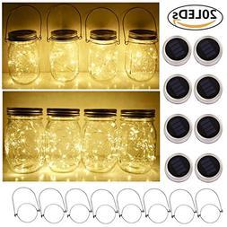 Solar Mason Jar Lid String Lights, 8 Pack 20 Led String Fair