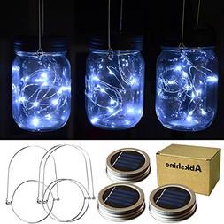Abkshine 3Pack Solar Mason Jar Light Lid Assemblies LED Fair