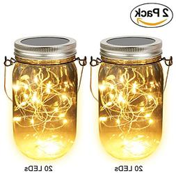 Solar Mason Jar Lights, Adecorty Outdoor Hanging Lights 2 Pa