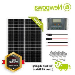 Newpowa 100 Watt 100W solar panel Kit Monocrystalline 12V Of