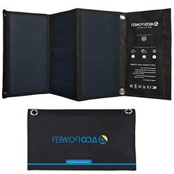 ACOPOWER 21W Solar Panel for Phone Charge with Dual USB Outp