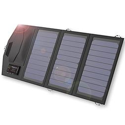 ALLPOWERS 15W Solar Charger with 6000mAh Battery, 3 USB Outp