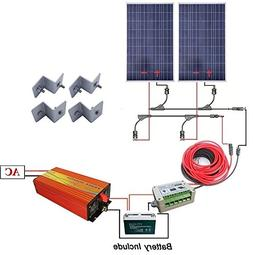 ECO-WORTHY 200 Watts Solar Panel Complete Kit : 2pcs 100W Po