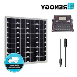 Renogy 50W 12V Solar Panel 10A LCD Controller Off Grid Kit B