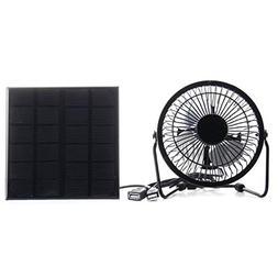 Phoncoo 3W 6V Solar Panel Iron Fan 4 Inch Cooling Ventilatio