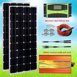 Solar Panel Kit 200 Watt 1000W Pure Sine Wave Inverter 30A 1