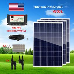 Solar Panel Kit 300 Watt Poly Panel with PWM 30A Solar Contr
