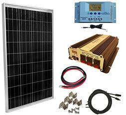 WindyNation 100 Watt Solar Panel Kit with 1500W VertaMax Pow