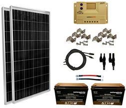 WINDYNATION 200 Watt Solar Panel Kit: 2pcs 100W Solar Panel
