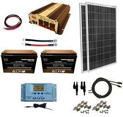 WindyNation 200 Watt  Solar Panel Kit + 1500W Power Inverter