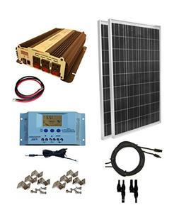 WindyNation 200 Watt  Solar Panel Kit with 1500W VertaMax Po