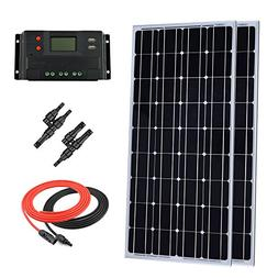 Giosolar 200 Watt 12 Volt Solar Panel Kit: 2pcs 100W Monocry