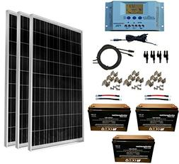 WindyNation 300 Watt  12V Solar Panel Kit w/LCD P30L Solar C