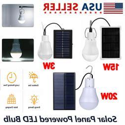 Solar Panel Powered LED Lights Bulb Light Tent Lamp Yard Cam