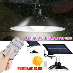Solar Panel Powered Lights Pendant Ceiling Lamp Indoor Outdo