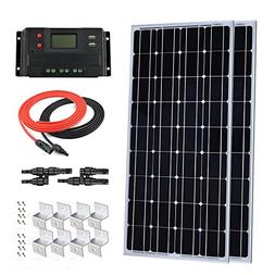 Giosolar 200W 12V Solar Panel Starter Kit: 2pcs 100W Monocry