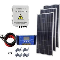 ECO-WORTHY 450W Solar Panel System: 3pcs 150W Poly panel + 4