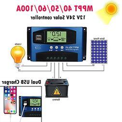 Fullfun Solar Panels Battery Charge Controller, 40/50/60/100