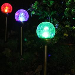 SenyMounts Solar Pathway Light, Color Changing Solar Crackle