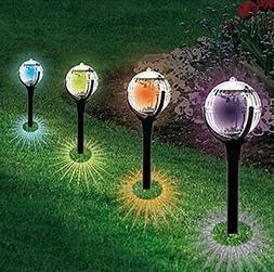 KORADA Outdoor Solar Pathway Lights, Cracked Glass Ball Glob