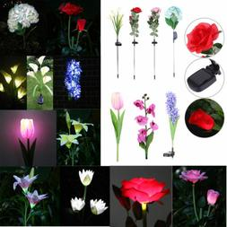 Solar Power LED Lily Flower Light  Waterproof Outdoor Yard G