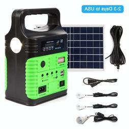 Solar Power Panel Generator LED Light USB Charger System FM