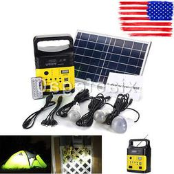 Solar Power Panel Generator LED Light USB Charger Home Syste