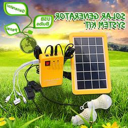 Solar Power Panel Generator System +2 LED Blub Charger Home