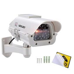 YSUCAU Solar Powered CCTV Security Fake Dummy Camera with Fl