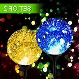 Solar Powered Crackle Glass Ball- Color Changing Stake Light
