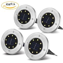 MOGOCO Solar Powered Ground Light with 8 LEDs,Outdoor Waterp
