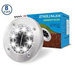 SUNNORS Solar Powered Ground Lights,8 LED Solar Path Lights