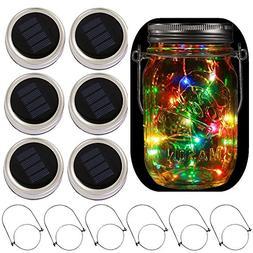 6-Pack Solar-powered Mason Jar Lights 20 LEDs,5 Colors Twink