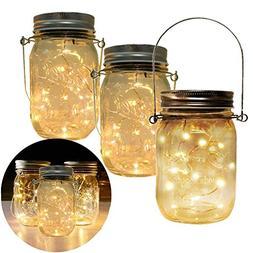3-Pack Solar Powered Mason Jar Lights  10 LED Bulbs String L
