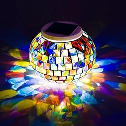 Solar Powered Mosaic Glass Ball Garden Lights,TechCode Color