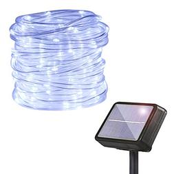 HAHOME Solar Powered String Light, 33Ft Clear PVC Rope 132 L