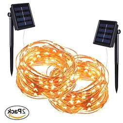 Solar Powered String Lights, POPPAP 100 LED Copper Wire Star
