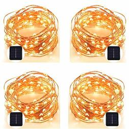 POPPAP Solar String Lights 100 LED Copper Wire Starry Fairy