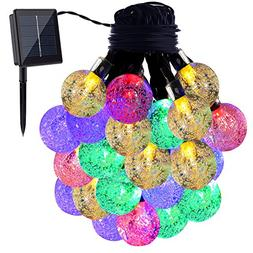 GDEALER Solar String Lights 20ft 30 LED Crystal Ball Waterpr