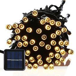 FirstLights Christmas Solar String Lights 39 Feet, 100 Warm